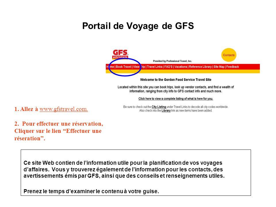 Portail de Voyage de GFS