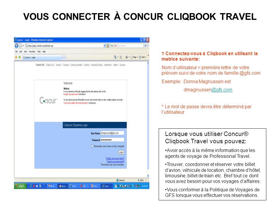 VOUS CONNECTER À CONCUR CLIQBOOK TRAVEL