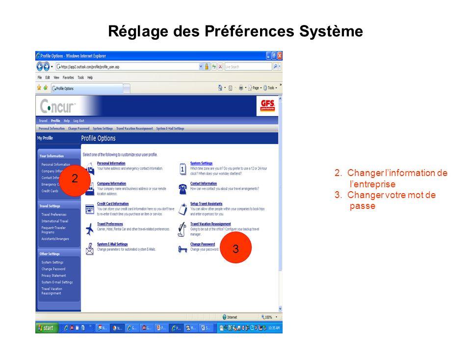 Réglage des Préférences Système