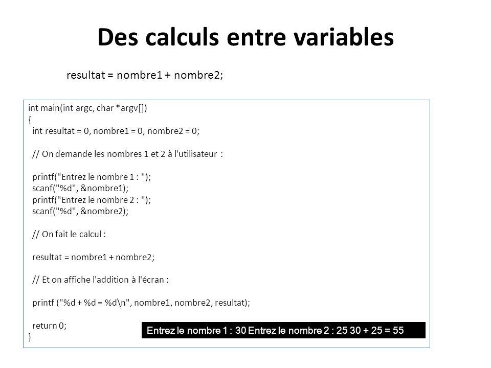 Des calculs entre variables