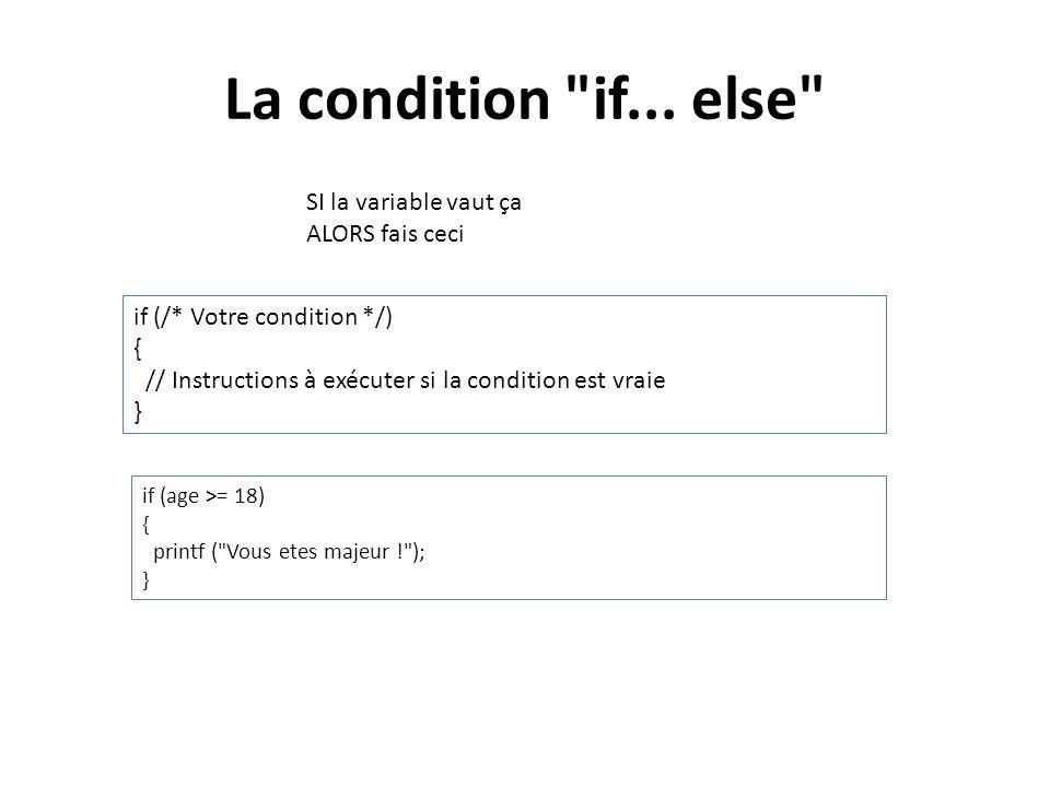La condition if... else SI la variable vaut ça ALORS fais ceci