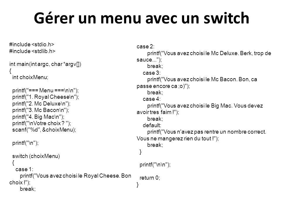 Gérer un menu avec un switch