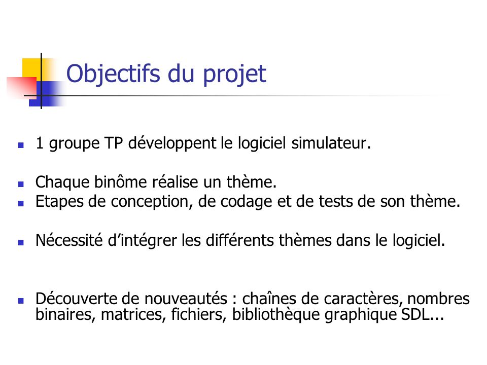 Objectifs du projet 1 groupe TP développent le logiciel simulateur.