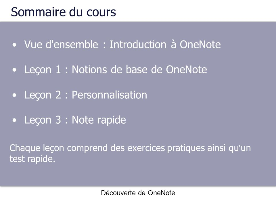 Sommaire du cours Vue d ensemble : Introduction à OneNote