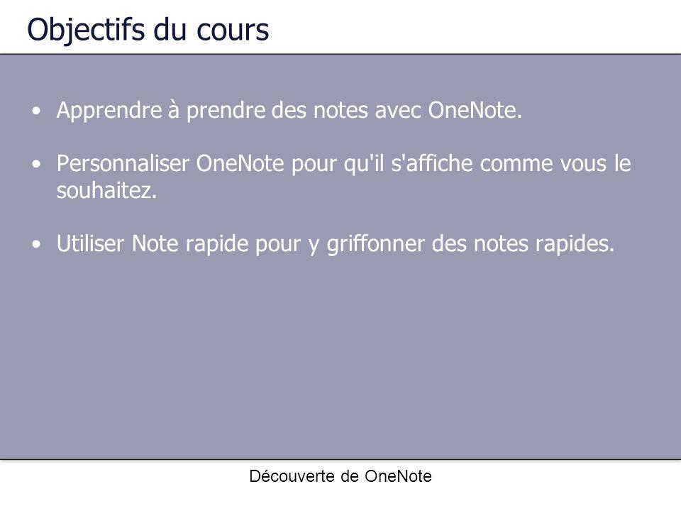 Objectifs du cours Apprendre à prendre des notes avec OneNote.