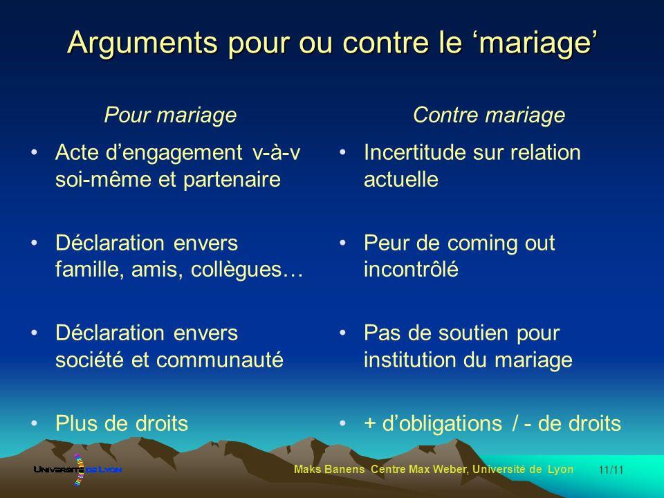 Arguments pour ou contre le 'mariage'