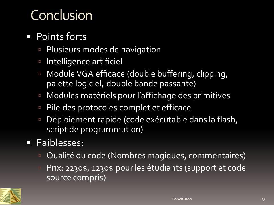 Conclusion Points forts Faiblesses: Plusieurs modes de navigation