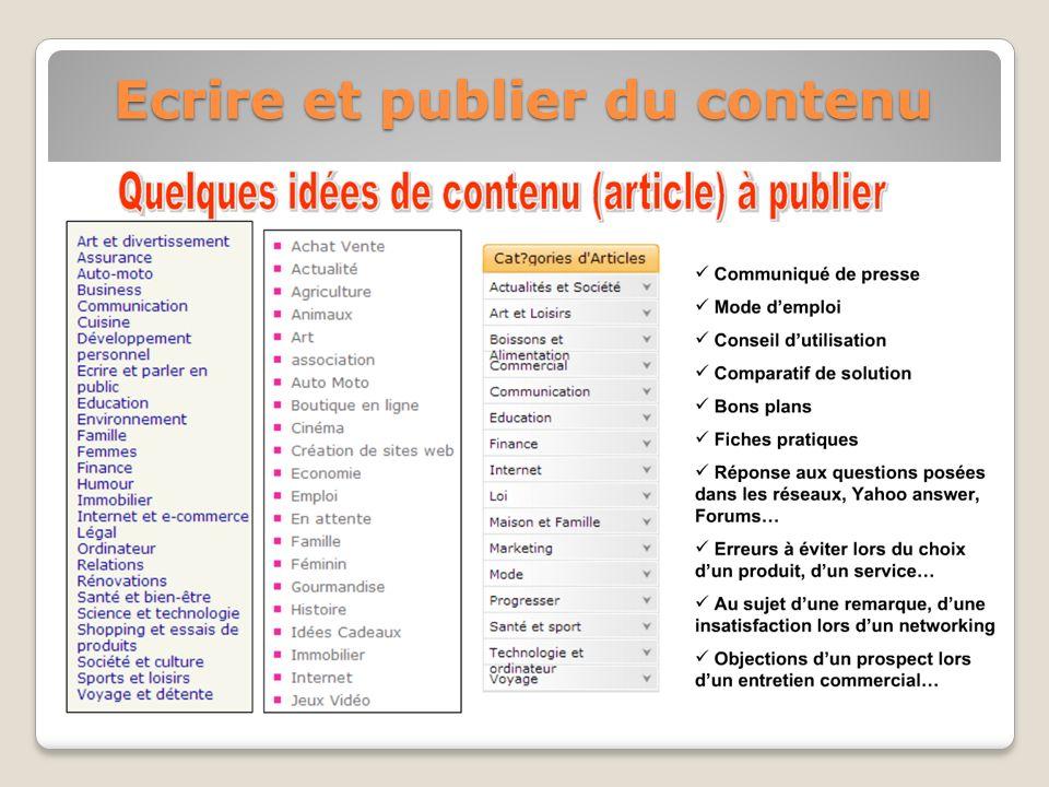 Ecrire et publier du contenu