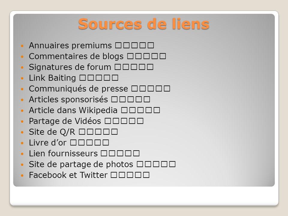 Sources de liens Annuaires premiums ★★★★★ Commentaires de blogs ★★☆☆☆