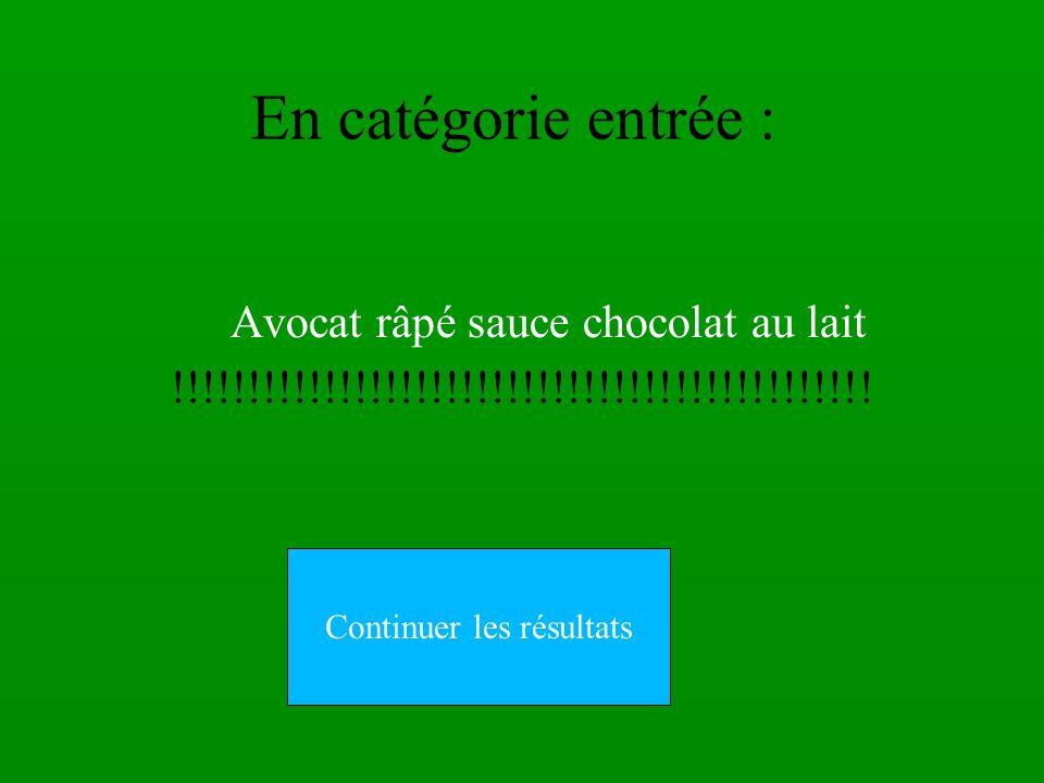 En catégorie entrée : Avocat râpé sauce chocolat au lait