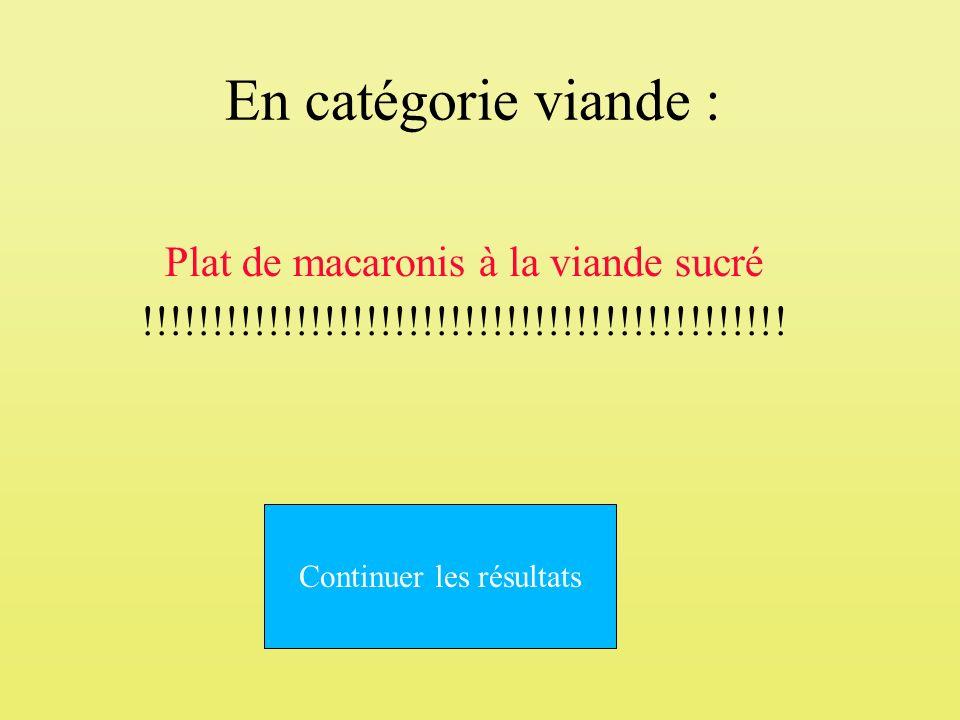En catégorie viande : Plat de macaronis à la viande sucré