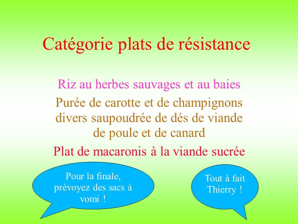 Catégorie plats de résistance