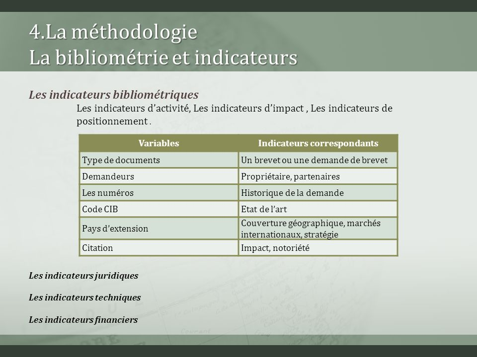 4.La méthodologie La bibliométrie et indicateurs