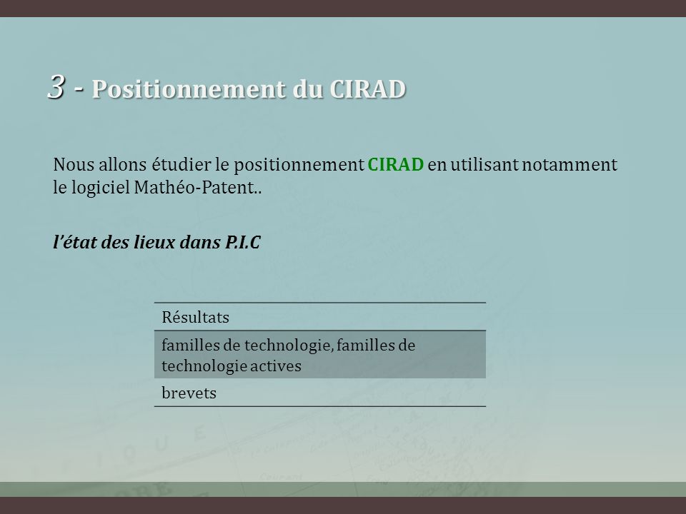 3 - Positionnement du CIRAD