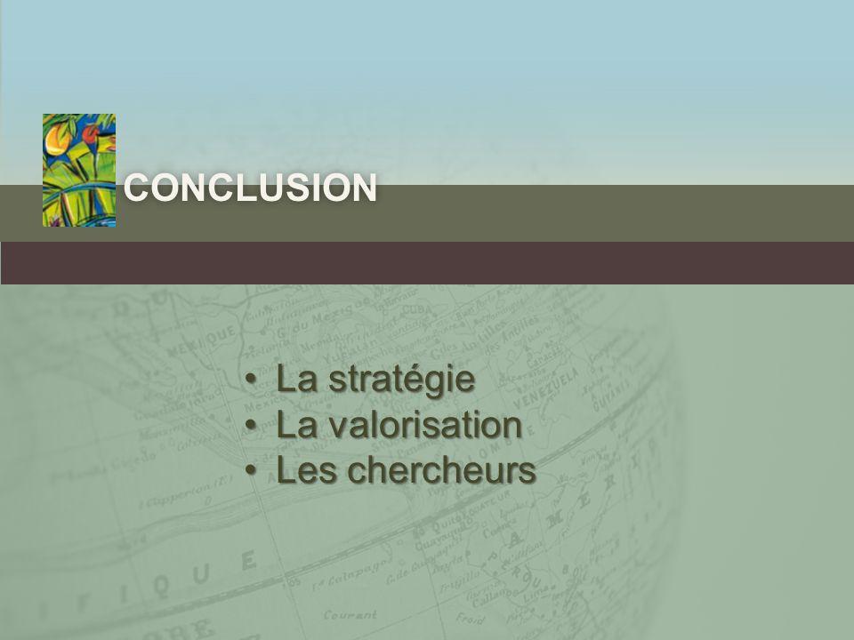 conclusion La stratégie La valorisation Les chercheurs