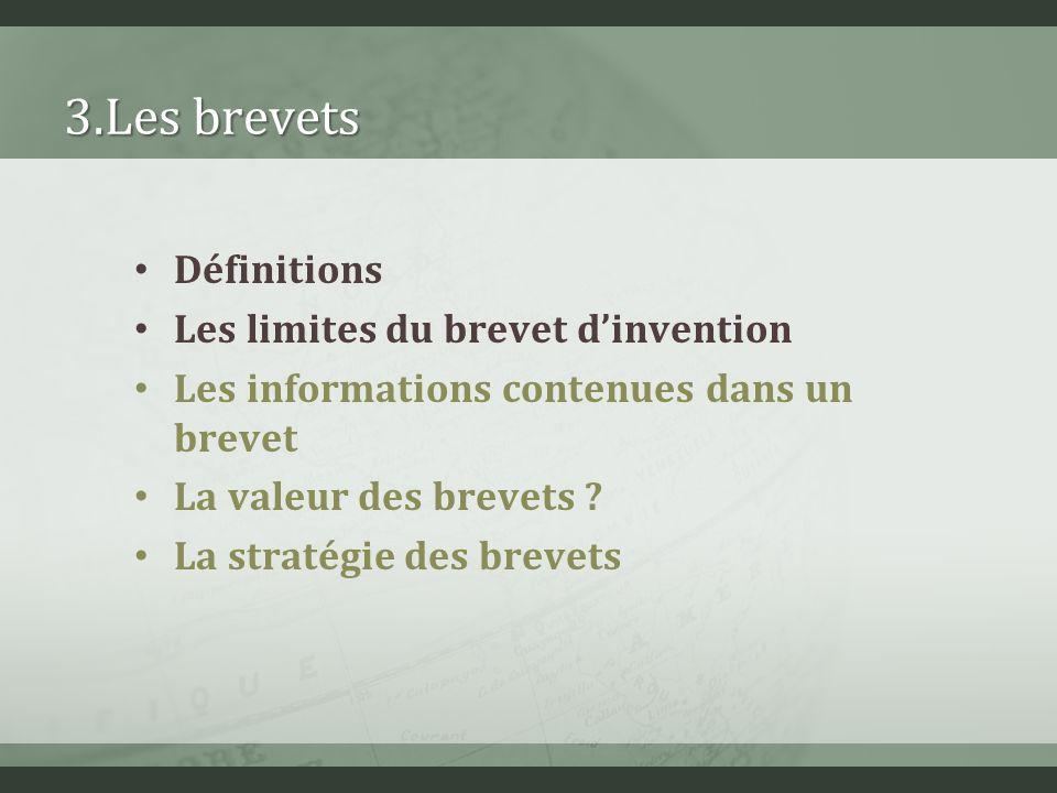 3.Les brevets Définitions Les limites du brevet d'invention