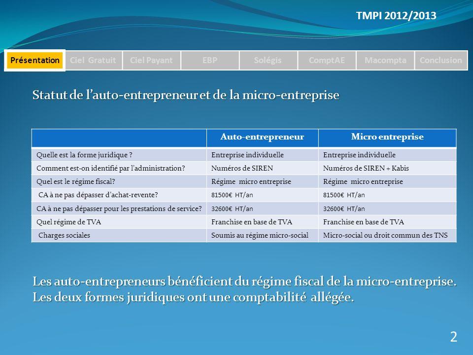 2 Statut de l'auto-entrepreneur et de la micro-entreprise