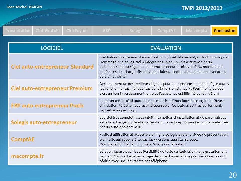 20 TMPI 2012/2013 Ciel auto-entrepreneur Standard