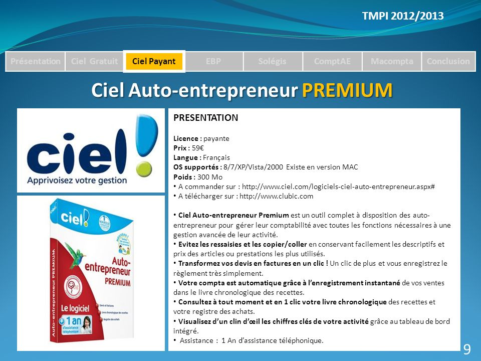 Ciel Auto-entrepreneur PREMIUM