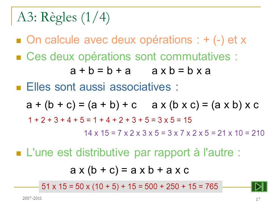 A3: Règles (1/4) a + (b + c) = (a + b) + c a x (b x c) = (a x b) x c