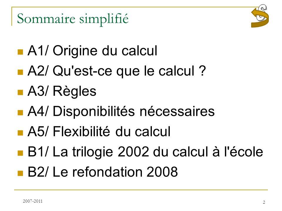 Sommaire simplifié S A1/ Origine du calcul