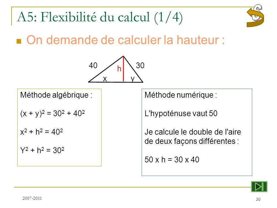 A5: Flexibilité du calcul (1/4)