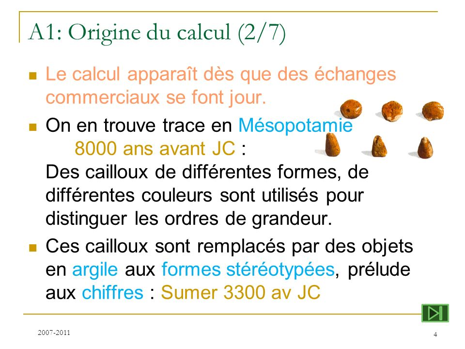 A1: Origine du calcul (2/7)