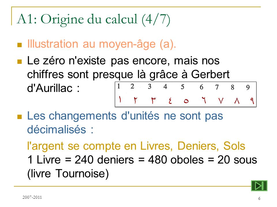 A1: Origine du calcul (4/7)
