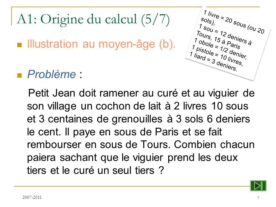 A1: Origine du calcul (5/7)