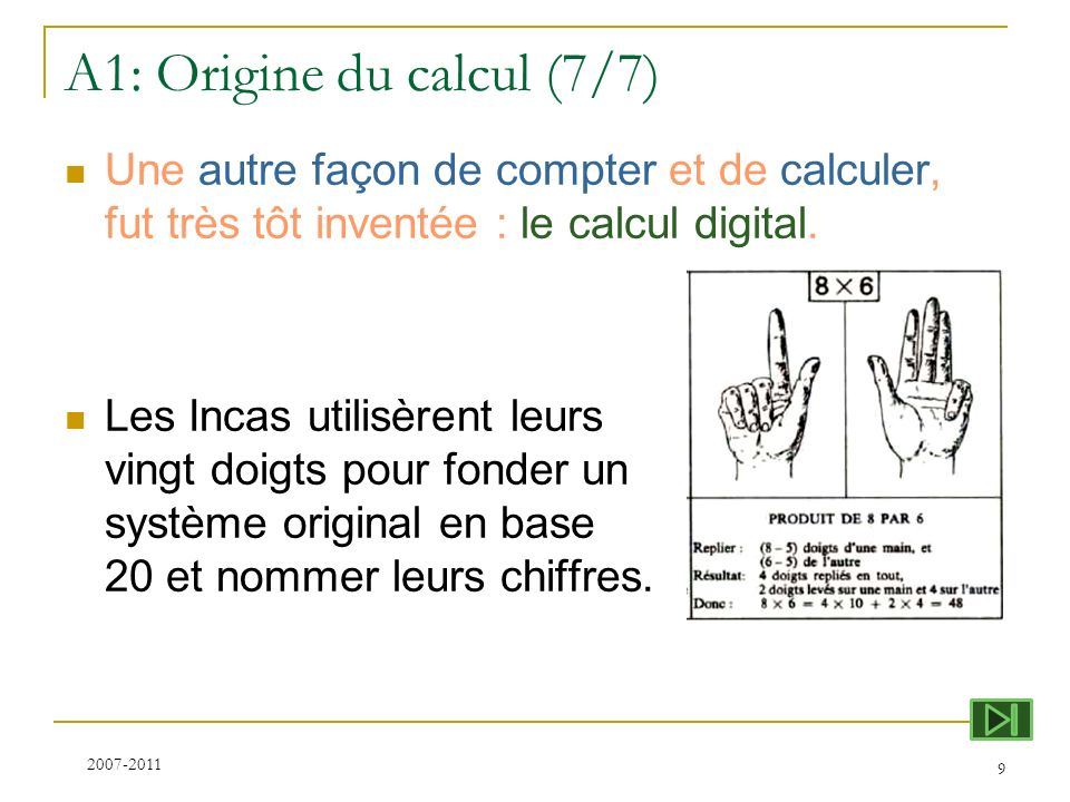 A1: Origine du calcul (7/7)