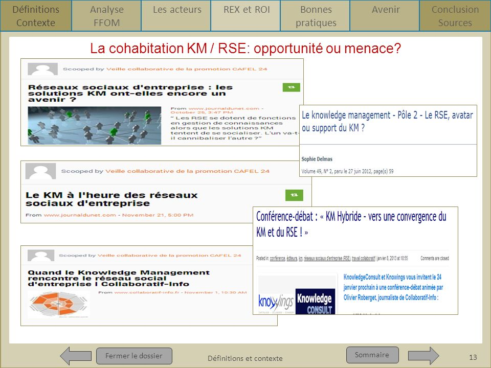 La cohabitation KM / RSE