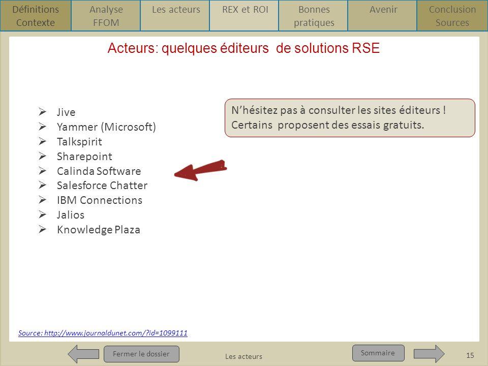 Acteurs: quelques éditeurs de solutions RSE