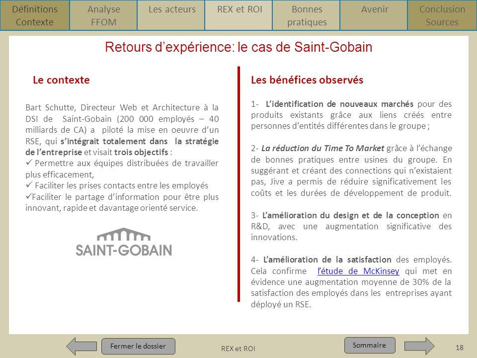 Retours d'expérience: le cas de Saint-Gobain