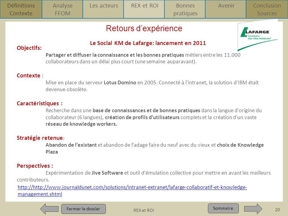 Le Social KM de Lafarge: lancement en 2011