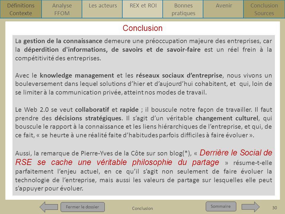 ConclusionDéfinitions. Contexte. Analyse. FFOM. Les acteurs. REX et ROI. Bonnes pratiques. Avenir. Conclusion.