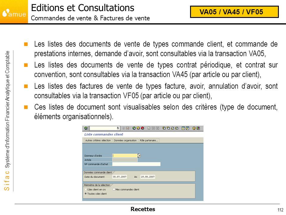 Editions et Consultations Commandes de vente & Factures de vente