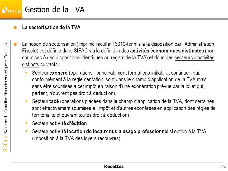 Gestion de la TVA La sectorisation de la TVA