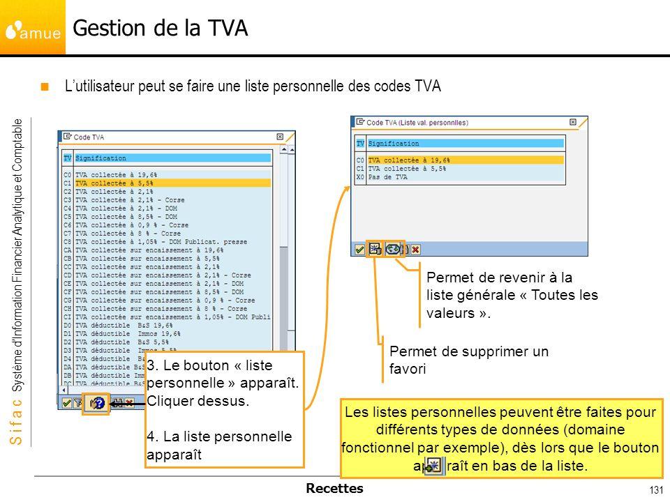 Gestion de la TVA L'utilisateur peut se faire une liste personnelle des codes TVA. Permet de revenir à la liste générale « Toutes les valeurs ».