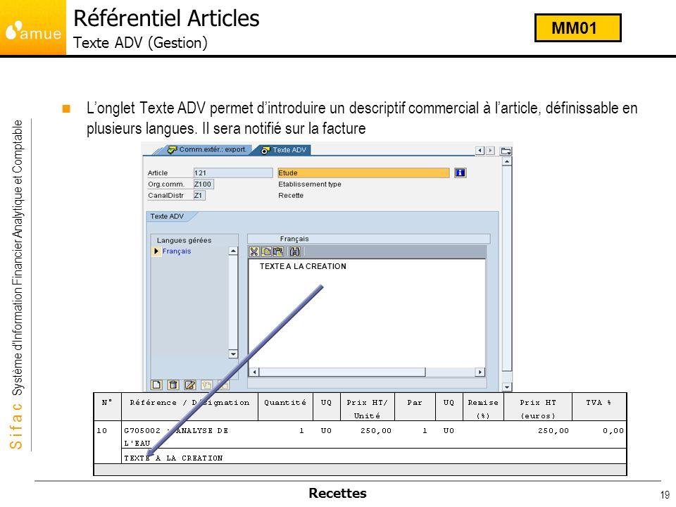 Référentiel Articles Texte ADV (Gestion)