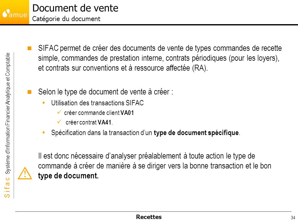 Document de vente Catégorie du document