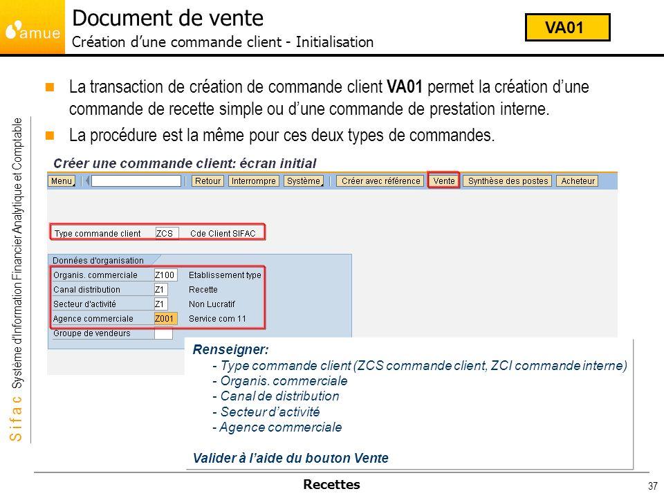 Document de vente Création d'une commande client - Initialisation