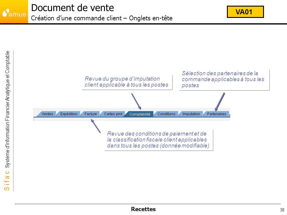 Document de vente Création d'une commande client – Onglets en-tête