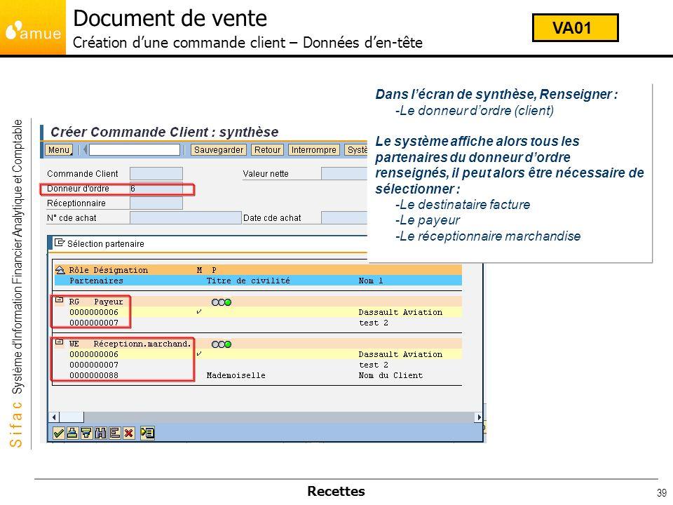 Document de vente Création d'une commande client – Données d'en-tête