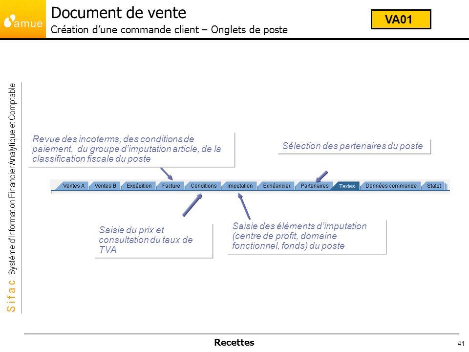 Document de vente Création d'une commande client – Onglets de poste