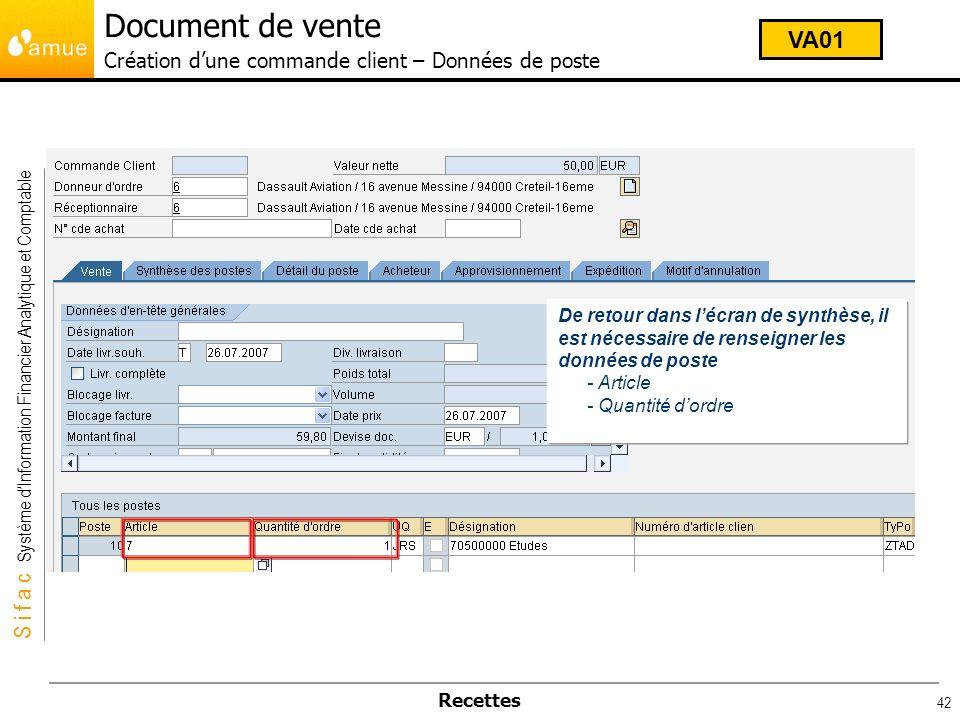 Document de vente Création d'une commande client – Données de poste