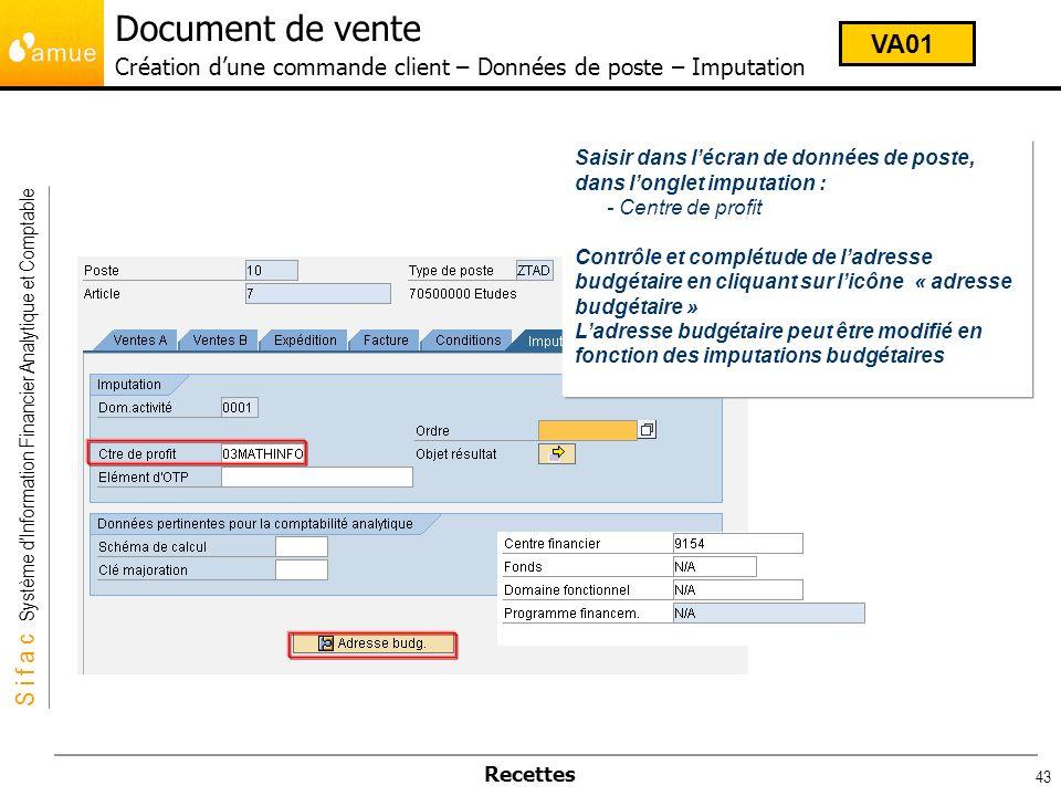 Document de vente Création d'une commande client – Données de poste – Imputation