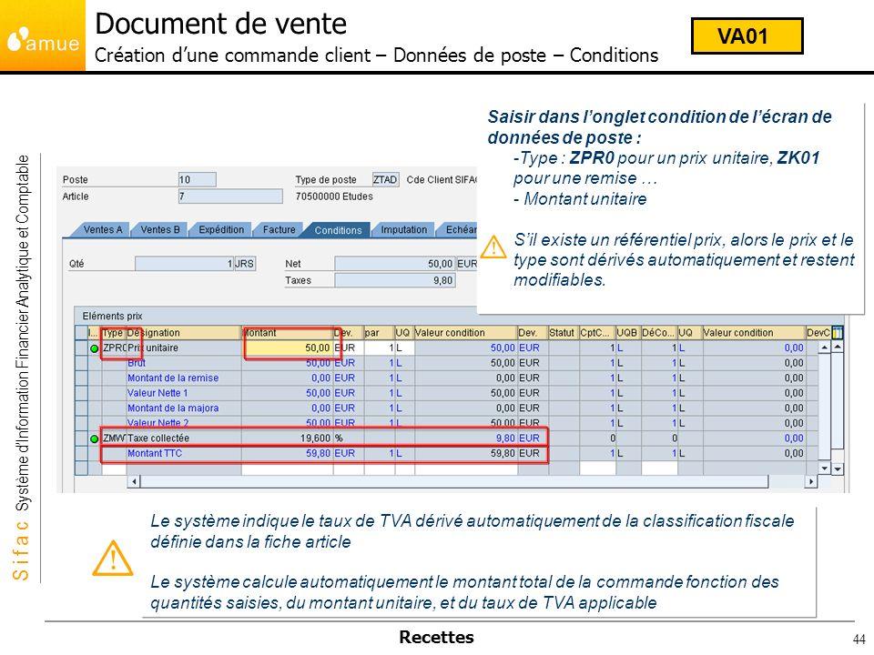 Document de vente Création d'une commande client – Données de poste – Conditions