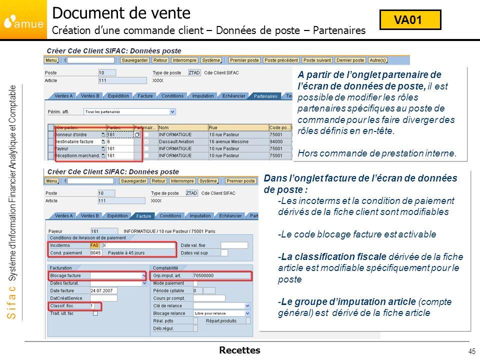 Document de vente Création d'une commande client – Données de poste – Partenaires