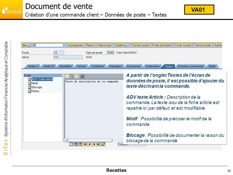Document de vente Création d'une commande client – Données de poste – Textes