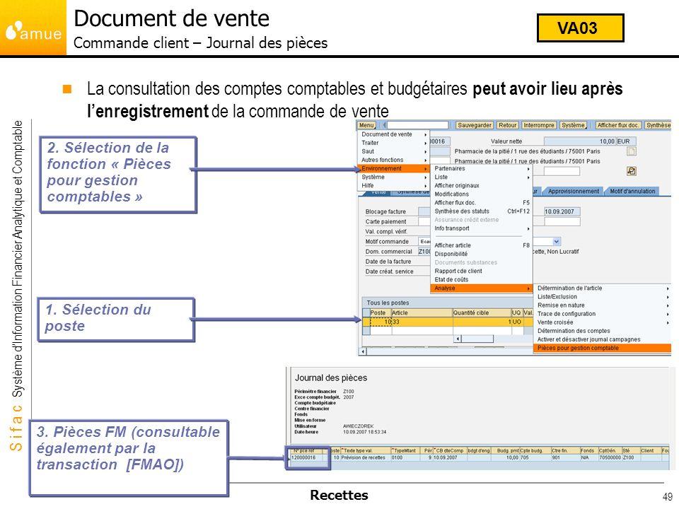 Document de vente Commande client – Journal des pièces